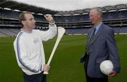 19 September 2003; DJ Carey explains the bounce of the sliothar to Jack Charlton when three legends of Irish sport, DJ Carey, Tony Ward and Jack Charlton came together, in Croke Park, Dublin, for a Flora pro.active cholesterol awareness campaign to mark World Heart Day, which is Sunday 28 September 2003. Picture credit; Ray McManus / SPORTSFILE *EDI*