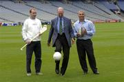 19 September 2003; Jack Charlton demonstrates his touch as the three legends of Irish sport, DJ Carey, Tony Ward and Jack Charlton came together, in Croke Park, Dublin, for a Flora pro.active cholesterol awareness campaign to mark World Heart Day, which is Sunday 28 September 2003. Picture credit; Ray McManus / SPORTSFILE *EDI*