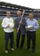 19 September 2003; DJ Carey, Jack Charlton and Tony Ward in jovial mood when the three legends of Irish sport came together, in Croke Park, Dublin, for a Flora pro.active cholesterol awareness campaign to mark World Heart Day, which is Sunday 28 September 2003. Picture credit; Ray McManus / SPORTSFILE *EDI*