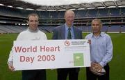 19 September 2003; Three legends of Irish sport, DJ Carey, Tony Ward and Jack Charlton came together, in Croke Park, Dublin, for a Flora pro.active cholesterol awareness campaign to mark World Heart Day, which is Sunday 28 September 2003. Picture credit; Ray McManus / SPORTSFILE *EDI*