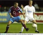 23 September 2003; Andy Myler, Drogheda United, in action against Shelbourne's Tony McCarthy. eircom League Premier Division, Drogheda United v Shelbourne, O2 Park, Drogheda, Co, Louth. Picture credit; Matt Browne / SPORTSFILE *EDI*