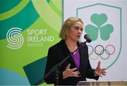 11 December 2018; Sarah Keane, President of Olympic Federation of Ireland, speaking as the Olympic Federation of Ireland & Sport Ireland Institute launch ground-breaking new performance support ahead of Tokyo 2020 at the Sports Ireland Institute, in Abbotstown, Dublin. Photo by Sam Barnes/Sportsfile