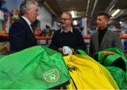 12 December 2018; FAI CEO John Delaney along with Republic of Ireland Women's National Team manager Colin Bell were on hand today to hand over Ireland bags filled with jerseys, footballs, scarfs & other merchandise to Liam Casey, East Region President, St Vincent De Paul, at the St Vincent De Paul depot on Sean McDermott Street, Dublin. The gifts are part of an annual Christmas donation for families in need. Pictured is a detailed view of items included in the gift bags, at the St Vincent De Paul depot on Sean McDermott Street, Dublin. Photo by Seb Daly/Sportsfile