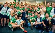 19 August 2018; Limerick sponsor JP McManus with the Limerick team and the Liam MacCarthy Cup in the dressing room following the GAA Hurling All-Ireland Senior Championship Final match between Galway and Limerick at Croke Park in Dublin. Photo by Ray McManus/Sportsfile
