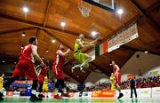 27 January 2018; Neil Baynes of UCD Marian goes for a lay-up over Luke Thompson, left, and Jason Killeen of Black Amber Templeogue during the Hula Hoops Pat Duffy National Cup Final match between UCD Marian and Black Amber Templeogue at the National Basketball Arena in Tallaght, Dublin. Photo by Brendan Moran/Sportsfile
