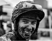 2 April 2018; (EDITORS NOTE: Image has been converted to black & white) Jockey Jack Kennedy following the Fairyhouse Steel Handicap Hurdle on Day 2 of the Fairyhouse Easter Festival at Fairyhouse Racecourse in Meath. Photo by Seb Daly/Sportsfile