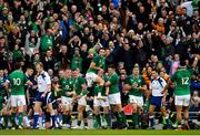 10 March 2018; Ireland players and supporters celebrate after Sean Cronin scored their side's fourth try during the NatWest Six Nations Rugby Championship match between Ireland and Scotland at the Aviva Stadium in Dublin. Photo by Brendan Moran/Sportsfile