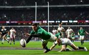 17 March 2018; Jacob Stockdale of Ireland dives over to score his side's third try during the NatWest Six Nations Rugby Championship match between England and Ireland at Twickenham Stadium in London, England. Photo by Ramsey Cardy/Sportsfile