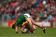 13 May 2018; (EDITORS NOTE; This image contains graphic content) Tom Parsons of Mayo during a coming together with Eoghan Kerin of Galway during the Connacht GAA Football Senior Championship Quarter-Final match between Mayo and Galway at Elvery's MacHale Park in Mayo. Photo by Eóin Noonan/Sportsfile