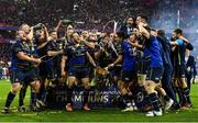 12 May 2018; The Leinster team celebrate with the cup after the European Rugby Champions Cup Final match between Leinster and Racing 92 at the San Mames Stadium in Bilbao, Spain. Photo by Brendan Moran/Sportsfile