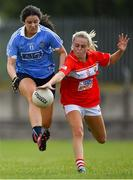 30 June 2018; Rachel Brennan of Dublin in action against Laura O'Mahoney of Cork during the GAA All-Ireland Minor A Ladies Football Semi-final match between Cork and Dublin at MacDonagh Park in Nenagh, Tipperary. Photo by Harry Murphy/Sportsfile