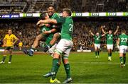 23 June 2018; Ireland players, from left, Jonathan Sexton, Bundee Aki and Jordi Murphy celebrate at the final whistle of the 2018 Mitsubishi Estate Ireland Series 3rd Test match between Australia and Ireland at Allianz Stadium in Sydney, Australia. Photo by Brendan Moran/Sportsfile