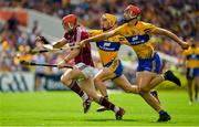 5 August 2018; Conor Whelan of Galway is tackled by Peter Duggan and Colm Galvin of Clare, right, during the GAA Hurling All-Ireland Senior Championship semi-final replay match between Galway and Clare at Semple Stadium in Thurles, Co Tipperary. Photo by Brendan Moran/Sportsfile
