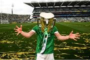 19 August 2018; Darragh O'Donovan of Limerick celebrates with the Liam MacCarthy Cup following the GAA Hurling All-Ireland Senior Championship Final between Galway and Limerick at Croke Park in Dublin. Photo by Stephen McCarthy/Sportsfile