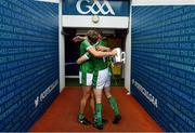 19 August 2018; Gearóid Hegarty, left, and Séamus Flanagan of Limerick hug as they leave the pitch with the Liam MacCarthy Cup after the GAA Hurling All-Ireland Senior Championship Final match between Galway and Limerick at Croke Park in Dublin.  Photo by Brendan Moran/Sportsfile