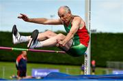 18 August 2018; Patrick Moran of Mayo A.C., M60, competing in the High Jump event during the Irish Life Health National Track & Field Masters Championships at Tullamore Harriers Stadium in Offaly. Photo by Piaras Ó Mídheach/Sportsfile