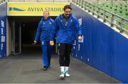 14 December 2018; James Lowe, right, and Head coach Leo Cullen during the Leinster Rugby captains run at the Aviva Stadium in Dublin. Photo by Ramsey Cardy/Sportsfile