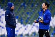 14 December 2018; Backs coach Felipe Contepomi, left, in conversation with James Lowe during the Leinster Rugby captains run at the Aviva Stadium in Dublin. Photo by Ramsey Cardy/Sportsfile