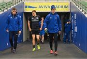 14 December 2018; Josh van der Flier, left, Garry Ringrose, centre, and Jonathan Sexton during the Leinster Rugby captains run at the Aviva Stadium in Dublin. Photo by Ramsey Cardy/Sportsfile