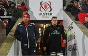 14 December 2018; Scarlets head coach Wayne Pivac, left, and Jordi Murphy of Ulster ahead of the European Rugby Champions Cup Pool 4 Round 4 match between Ulster and Scarlets at the Kingspan Stadium in Belfast. Photo by Ramsey Cardy/Sportsfile