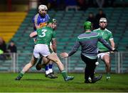 14 December 2018; Patrick Maher of Tipperary scores his side's fourth goal despite the efforts of Sean Finn, left, and Nicky Quaid of Limerick during the Co-Op Superstores Munster Hurling League 2019 match between Limerick and Tipperary at the Gaelic Grounds in Limerick. Photo by Matt Browne/Sportsfile