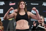 14 December 2018; Katie Taylor weighs in, at Madison Square Garden, prior to the defence of her WBA & IBF World Lightweight Championship against Eva Wahlstrom on Saturday night at Madison Square Garden in New York City, NY, USA. Photo by Ed Mulholland / Matchroom Boxing USA via Sportsfile