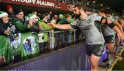 14 December 2018; Peter McCabe of Connacht celebrates with supporters after the Heineken Champions Cup Pool 3 Round 4 match between Perpignan and Connacht at the Stade Aime Giral in Perpignan, France. Photo by Brendan Moran/Sportsfile
