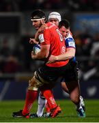 14 December 2018; Marcell Coetzee of Ulster is tackled by Hadleigh Parkes of Scarlets during the Heineken Champions Cup Pool 4 Round 4 match between Ulster and Scarlets at the Kingspan Stadium in Belfast. Photo by Ramsey Cardy/Sportsfile