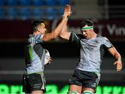 14 December 2018; Cian Kelleher of Connacht, left, is congratulated by team-mate Robin Copeland after scoring their side's fifth try during the Heineken Champions Cup Pool 3 Round 4 match between Perpignan and Connacht at the Stade Aime Giral in Perpignan, France. Photo by Brendan Moran/Sportsfile