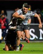 14 December 2018; Cian Kelleher of Connacht beats the tackles of Sadek Degmache, left, and Tima Fainga'anuku on the way to scoring his side's fifth try during the Heineken Champions Cup Pool 3 Round 4 match between Perpignan and Connacht at the Stade Aime Giral in Perpignan, France. Photo by Brendan Moran/Sportsfile