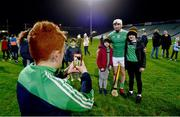 14 December 2018; Billy Hoppe takes a picture of Luke and Josh Maher with Aaron Gillane of Limerick after the Co-Op Superstores Munster Hurling League 2019 match between Limerick and Tipperary at the Gaelic Grounds in Limerick. Photo by Matt Browne/Sportsfile