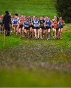 15 December 2018; Athletes competing in the girls U17 4000m race during the Irish Life Health Novice & Juvenile Uneven Age Cross Country Championships 2018 at Navan Adventure Sports, Navan Racecourse in Meath. Photo by Eóin Noonan/Sportsfile