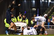 15 December 2018; James Lowe, left, and Garry Ringrose of Leinster celebrate a try by Jack Conan, hidden, during the Heineken Champions Cup Pool 1 Round 4 match between Leinster and Bath at the Aviva Stadium in Dublin. Photo by Ramsey Cardy/Sportsfile
