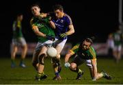 15 December 2018; Daniel Mimnagh of Longford in action against Shane Gallagher, left, and Eoin Lynch of Meath during the Bord na Móna O'Byrne Cup Round 2 match between Meath and Longford at Donaghmore Ashbourne GFC in Ashbourne, Co Meath. Photo by Harry Murphy/Sportsfile