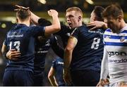 15 December 2018; Jack Conan of Leinster, 8, is congratulated by teammates, from left, Garry Ringrose, James Lowe and Dan Leavy after scoring his side's first try during the Heineken Champions Cup Pool 1 Round 4 match between Leinster and Bath at the Aviva Stadium in Dublin. Photo by David Fitzgerald/Sportsfile