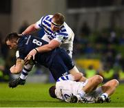 15 December 2018; Jack Conan of Leinster is tackled by Jacques van Rooyen, left, and Tom Dunn of Bath during the Heineken Champions Cup Pool 1 Round 4 match between Leinster and Bath at the Aviva Stadium in Dublin. Photo by Seb Daly/Sportsfile