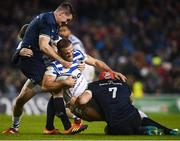 15 December 2018; Jamie Roberts of Bath is tackled by Jonathan Sexton, left, and Josh van der Flier of Leinster during the Heineken Champions Cup Pool 1 Round 4 match between Leinster and Bath at the Aviva Stadium in Dublin. Photo by David Fitzgerald/Sportsfile