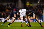 15 December 2018; Elliott Stooke of Bath is tackled by Rhys Ruddock, left, and Jack Conan of Leinster during the Heineken Champions Cup Pool 1 Round 4 match between Leinster and Bath at the Aviva Stadium in Dublin. Photo by Seb Daly/Sportsfile