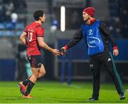 15 December 2018; Joey Carbery of Munster is greeted by team-mate Tyler Bleyendaal as he is substituted during the Heineken Champions Cup Pool 2 Round 4 match between Castres and Munster at Stade Pierre Fabre in Castres, France. Photo by Brendan Moran/Sportsfile