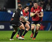 15 December 2018; Joey Carbery of Munster runs behind team-mate Peter O'Mahony and Antoine Tichit of Castres Olympique as he looks for attacking options during the Heineken Champions Cup Pool 2 Round 4 match between Castres and Munster at Stade Pierre Fabre in Castres, France. Photo by Brendan Moran/Sportsfile