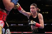 15 December 2018; Katie Taylor in action against Eva Wahlstrom during their WBA & IBF World Lightweight Championship fight at Madison Square Garden in New York, USA. Photo by Ed Mulholland / Matchroom Boxing USA via Sportsfile