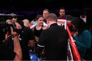 15 December 2018; Katie Taylor following her WBA & IBF World Lightweight Championship fight against Eva Wahlstrom at Madison Square Garden in New York, USA. Photo by Ed Mulholland / Matchroom Boxing USA via Sportsfile