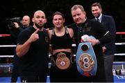 15 December 2018; Katie Taylor with trainer Ross Enamait, left, and manager Brian Peters after defeating Eva Wahlstrom in their WBA & IBF World Lightweight Championship fight at Madison Square Garden in New York, USA. Photo by Ed Mulholland / Matchroom Boxing USA via Sportsfile