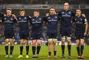 15 December 2018; Leinster players, from left, Josh van der Flier, Garry Ringrose, Tadhg Furlong, Jack Conan, Devin Toner and Jonathan Sexton ahead of the Heineken Champions Cup Pool 1 Round 4 match between Leinster and Bath at the Aviva Stadium in Dublin. Photo by Ramsey Cardy/Sportsfile
