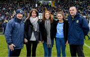 16 December 2018; Martina Cox, wife of Seán Cox, with their daughters Emma, centre, and Shauna alongside Dublin manager Jim Gavin and Meath manager Andy McEntee before the Seán Cox Fundraising match between Meath and Dublin at Páirc Tailteann in Navan, Co Meath. Photo by Piaras Ó Mídheach/Sportsfile