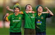 16 December 2018; Meath supporters, from left, Luke Casey, age 10, and Max Farrelly, age 11, both from Navan O'Mahony's, and Finian Collier, age 10, from Bective GAA, celebrate after the Seán Cox Fundraising match between Meath and Dublin at Páirc Tailteann in Navan, Co Meath. Photo by Piaras Ó Mídheach/Sportsfile