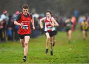 15 December 2018; Tadgh Donnelly of Drogheda & District A.C., Co. Louth, competing in the U17 Boys event during the Irish Life Health Novice & Juvenile Uneven Age Cross Country Championships 2018 at Navan Adventure Sports, Navan Racecourse in Meath. Photo by Eóin Noonan/Sportsfile