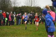 15 December 2018; Nicole Dinan of Leevale A.C., Co. Cork, and Saoirse Fitzgerald of Lucan Harriers A.C., Co. Dublin, competing in the U13 Girls event  during the Irish Life Health Novice & Juvenile Uneven Age Cross Country Championships 2018 at Navan Adventure Sports, Navan Racecourse in Meath. Photo by Eóin Noonan/Sportsfile