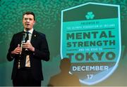 17 December 2018; 'Mental Strength and the Road to Tokyo' is the first in a series of events hosted by Team Ireland's Athletes' Commission in the lead up to Tokyo 2020, focusing on mental fortitude during the qualification process of an Olympic cycle. The event was designed to prepare aspiring Olympians for their Olympic journey drawing on the experience of the Irish Olympic family. The event was attended by a wide spectrum of people across 20 sports, from junior athletes to seasoned Olympians. Speaking at the event is Olympic Federation of Ireland CEO Peter Sherrard at The Sugar Club in Dublin. Photo by Brendan Moran/Sportsfile