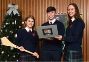 18 December 2018; The GAA today launched the innovative online GAA learning portal LCPE.ie, which supports the introduction of Physical Education at Higher and Ordinary Level in the Leaving Certificate Examination. Pictured are students from Ratoath College, Co. Meath, from left, Orla Hayes, Brian Moore and Karen Hayes, at Croke Park in Dublin. Photo by Seb Daly/Sportsfile